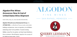 Algodon Fine Wines Announces New Arrival of U.S. Wine Shipment!