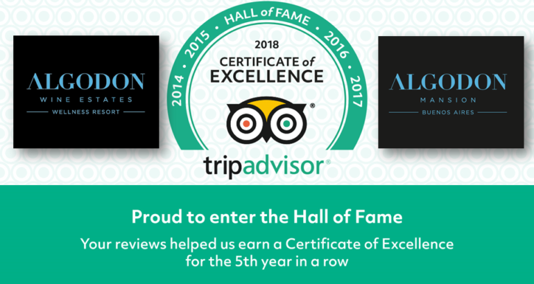Algodon Hotels receive TripAdvisor Cert. of Excellence for 5th Year Running!