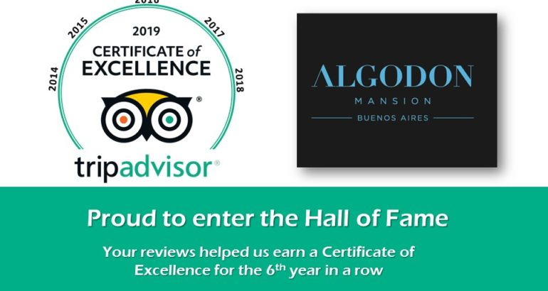 Algodon Mansion Inducted to 2019 TripAdvisor Hall of Fame for Certificate of Excellence
